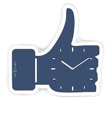 NeXtime Thumbs Up ( Like ) Table / Wall Clock, Glass, Blue