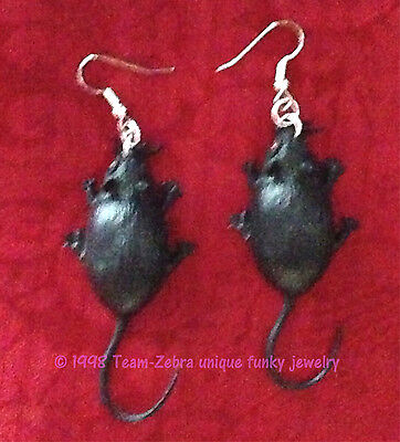 Vintage Gothic BIG BLACK MICE RATS MOUSE EARRINGS Retro Zombie Costume Jewelry
