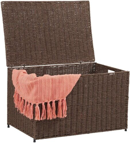 Wicker Storage Trunk Chest With Lid Metal Frame Handles Bedroom Living Organizer