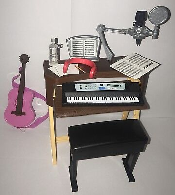 (Barbie Musician Studio Piano Keyboard Bench Guitar Doll Diorama Music Furniture)