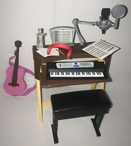 Barbie Musician Studio Piano Keyboard Bench Guitar Doll Diorama Music Furniture