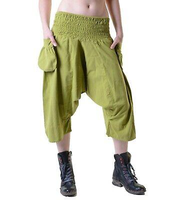 Goa Hose 3/4 Sarouelhose Pumphose im Haremshosen Style Kurz Damen Knielang