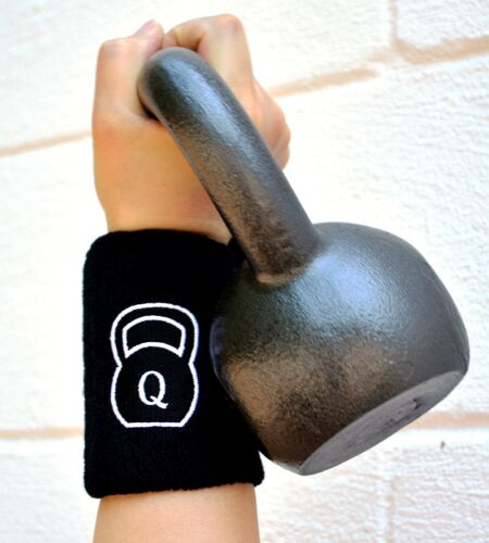 Quest Kettlebell Wrist Guard (Pair) with Pad - Black - CrossFit WOD Training
