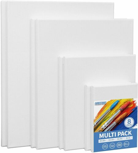 """FIXSMITH Stretched White Blank Canvas-5x7"""",8x10"""",11x14"""",12x16"""" (2 of Each),8Pack"""