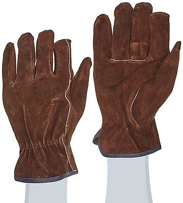 West Chester 81456 Split Cowhide Leather Unlined Driver Glove, Work, Shirred Med Shirred Unlined Gloves