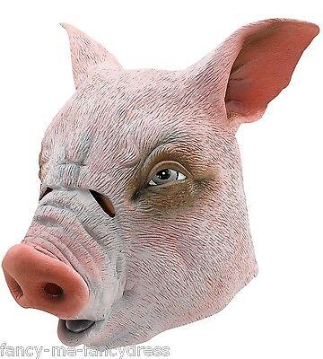 Gummi Gesichtsmaske Tier Halloween Kostüm Kleid Outfit (Schwein-gummi)