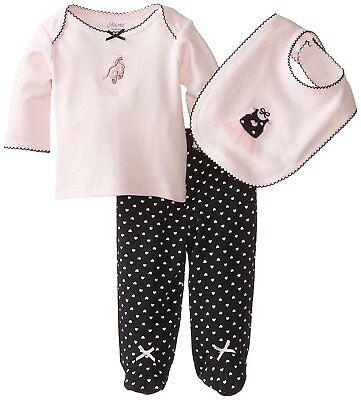 NEW Little Me Baby Girls Newborn Sweet Ballerina 3-Pc Outfit Set 3m Pink Black (Newborn Ballerina Outfit)