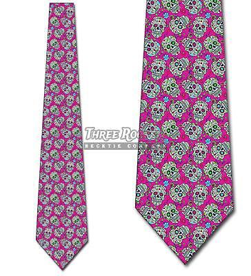 Sugar Skull Repeat Pink Ties Day of the Dead Tie Men's Halloween Ties - Man Sugar Skull Halloween