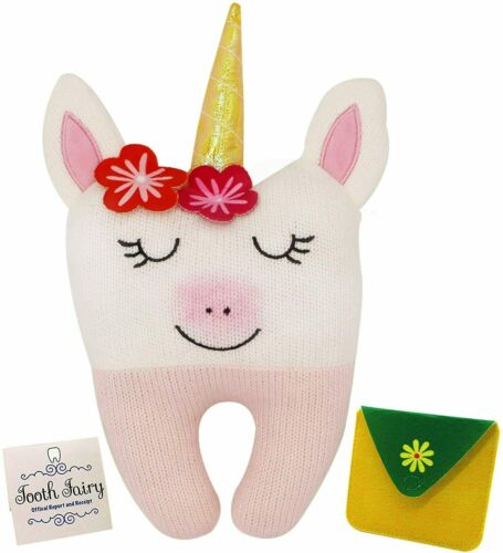 Tooth Fairy Pillow for Girls - Unicorn Themed Keepsake Pillow Set with Notecard