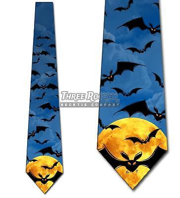 Bats Flying (Flying Bats Ties Halloween Tie Men's Spooky Neck Ties Brand)