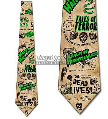 Vintage Halloween Movies (Vintage Halloween Horror Ties Retro Men's Movies Neck Ties Brand)
