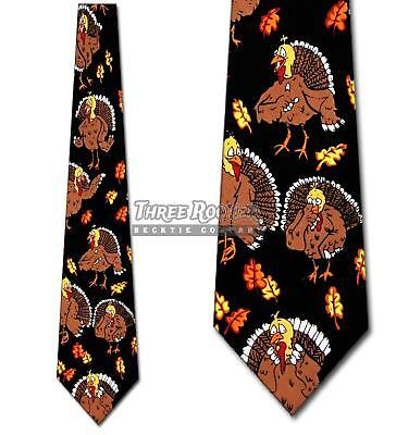 Turkey Ties Thanksgiving Neckties Leaves Mens Fall Themed Holiday Necktie -