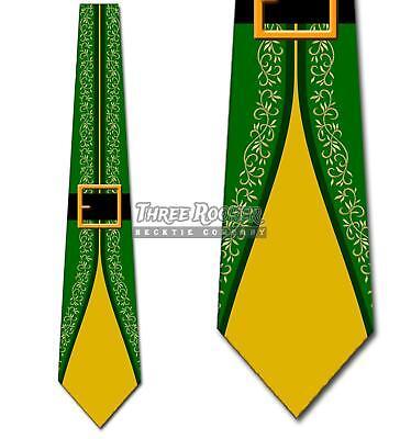 Elf Suit Green and Yellow Elves Tie Men's Christmas Holiday Neck Ties Brand New - Elf Suit