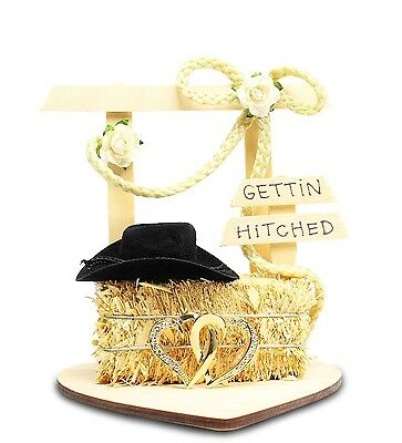 Gettin Hitched Wedding Western Theme Cake Topper Country Rope Hay Bale Heart