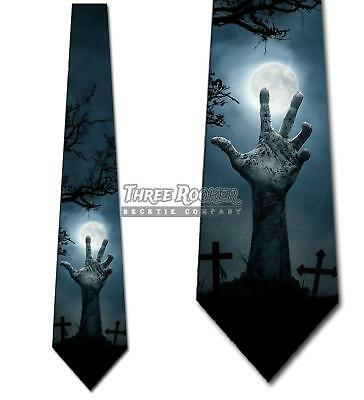 Halloween Ties Zombie Graveyard Tie Men's Holiday Neck Ties Brand New - Graveyard Halloween
