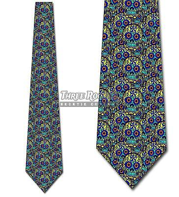 Sugar Skull Teal Collage Ties Day of the Dead Tie Men's Halloween Ties - Man Sugar Skull Halloween