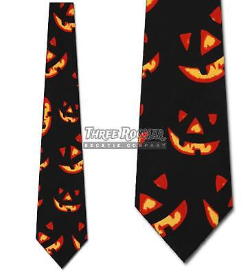 Jack O Lantern Ties Glowing Pumpkin Neckties Mens Halloween Neck Tie Brand New