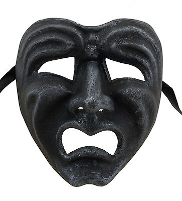 Mask from Venice Face Volto Paper Mache Grey Steel Tragedy Weeping 22675 GT2