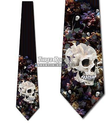 Vintage Floral Skull Ties Halloween Tie Men's Gothic Neck Ties Brand New - Halloween Neckties