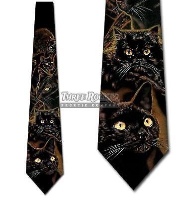 Cat Ties Halloween Neckties Kitty tie Mens Cat Neck Ties Bla