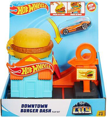 Hot Wheels Downtown Burger Dash Playset NEW
