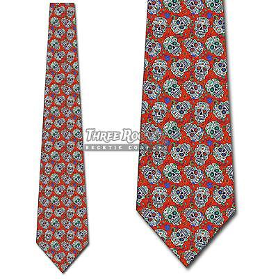 Sugar Skull Red RepeatTies Day of the Dead Tie Men's Halloween Ties (Day Of The Dead Men Halloween)