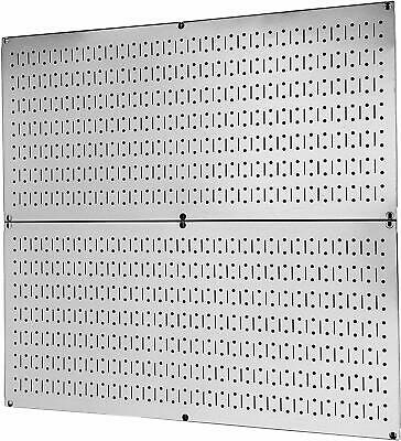 2 Metal Peg Board 16 X 32 Organizer Rack Wall Control Garage Storage Steel