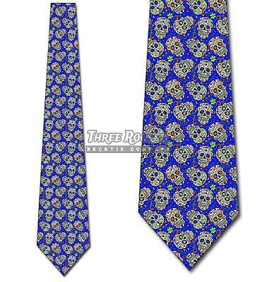 Sugar Skull Repeat Royal Blue Ties Day of the Dead Tie Men's Halloween Ties](Blue Sugar Skull Halloween)