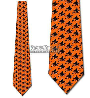 Flying Witch Silhouette Repeat Ties Halloween Tie Men's Orange Ties Brand - Halloween Witch Silhouette