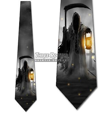 Halloween Ties Grim Reaper Tie Men's Grave Cemetery Neck Ties Brand New - Halloween Neckties