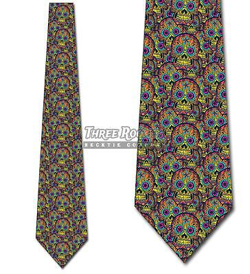 Sugar Skull Collage Ties Day of the Dead Tie Men's Halloween Ties (Day Of The Dead Men Halloween)