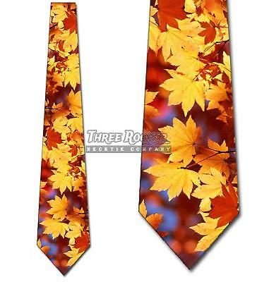 Autumn Falling Leaves Thanksgiving Mens Tie Brand -