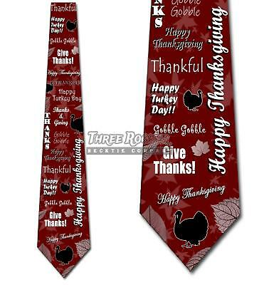 Happy Thanksgiving Turkey Leaves Collage- Maroon - Mens Tie -