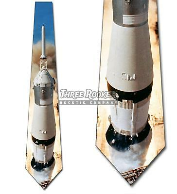 Apollo 11 Tie Space necktie NASA Rocket Men's Holiday Neck Ties Brand - Adult Holidays For Men
