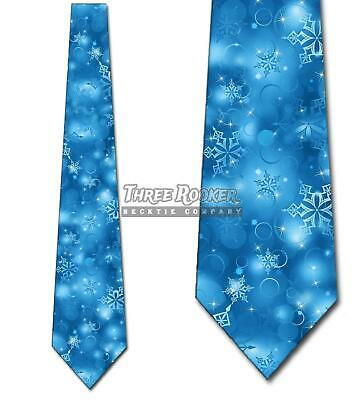 Christmas Ties Men's Holiday Neck Tie Winter Snowflake Blue Christmas Snowflake Tie