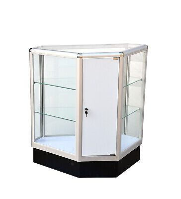 Hexagonal Corner Showcase Knock Down 20lx20wx12d X 38h Frame Shelf Retail Store