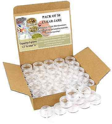 50 Pcs Mini Cosmetic Plastic Jars Container Clear W/ Lid Clear Plastic Jar 5 G