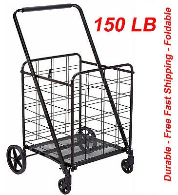 360 Shopping Cart Utility Trolley For Grocery Jumbo Size Max 150lbblack