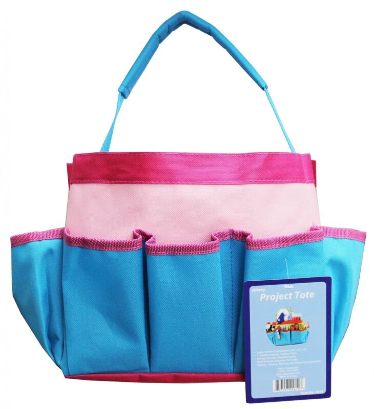 """Project Tote - 10 x 8 x 5"""" Blue, Light Pink, and Hot Pink from Allary #1610"""