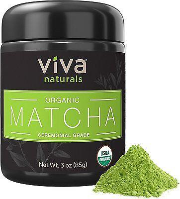 Viva Naturals Organic Matcha Green Tea Powder Japanese Ceramonial Grade 3 oz.