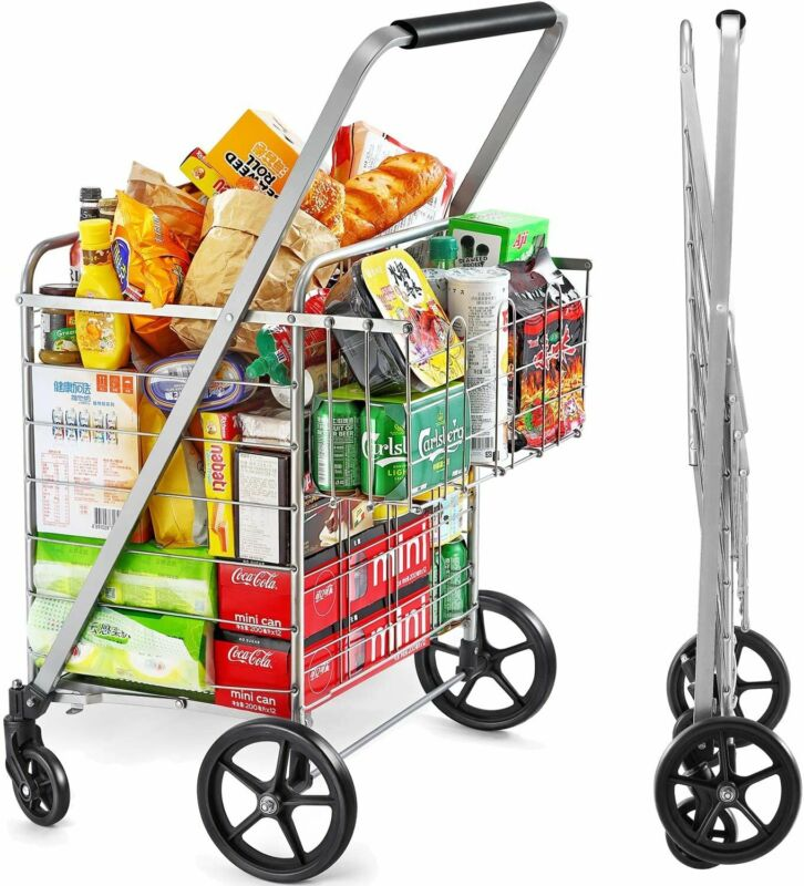 Wellmax Shopping Cart with Wheels, Metal Grocery Cart with Wheels, Shopping...