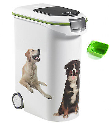 Pet Animal Food Storage Container Large 54L Cat Dog Box Bin Wheels With Scoop
