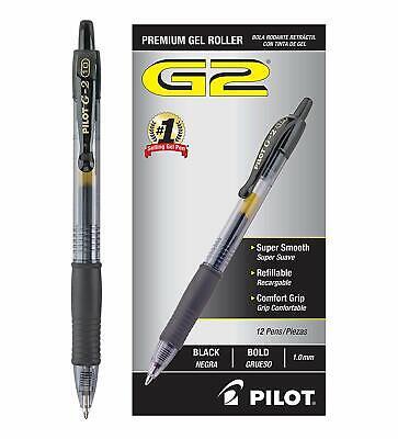 Pack Of 12 Pilot G2 Bold 1.0 Mm Black Gel Ink Pen Rollerball Pens Office Supply