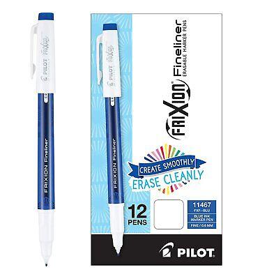 Pilot Frixion Fineliner Erasable Pen Fine 0.6mm Blue 12 Count
