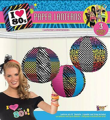 I Love 80's Totally Retro Decades Awesome Theme Party Decoration Paper Lanterns