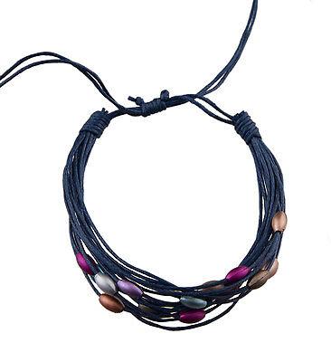 Bracelet multi fils marine perles pastel tous poignets-Line bresilien Wrap 938 (Tous Armband Perle)