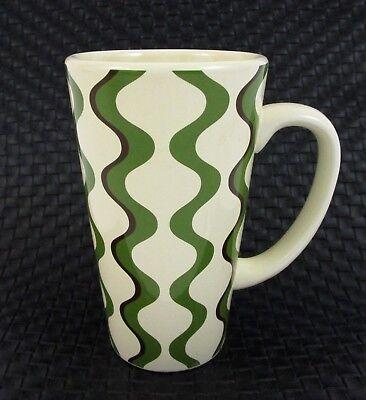 Pier One Coffee Cup Mug Wavy Mod Modern Design Tall Ironstone Retro Cool Green