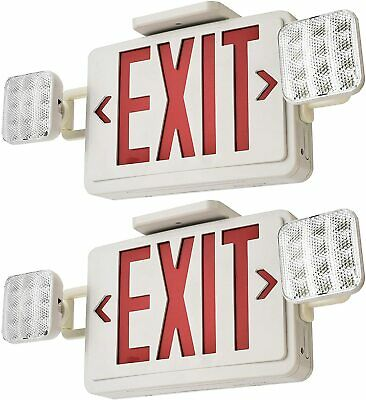2 Pack Red Led Exit Sign With Emergency Lights Combo With Battery Backup