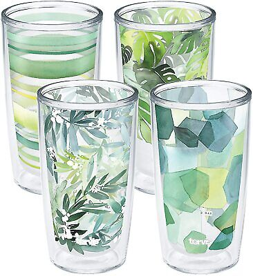 Tervis Yao Cheng - Crystal Insulated Tumbler, 16oz-4pk, Green Collection - NEW
