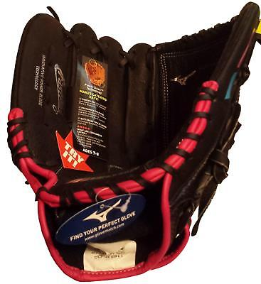 """Mizuno Prospect Youth 11.5/"""" Baseball Glove Ages 7-8  Left Hand Throw Black//Pink"""